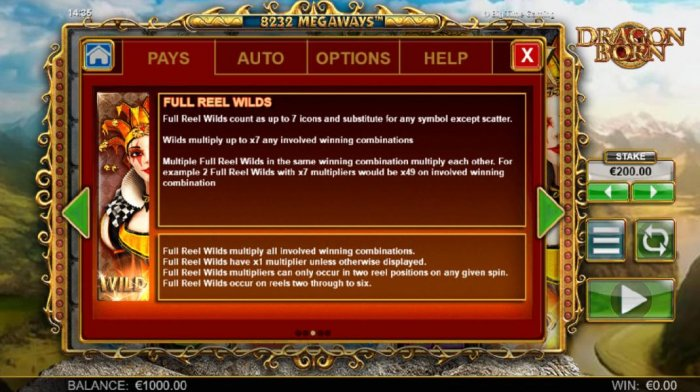 All Online Pokies - Full reel wilds count as up to 7 icons and substitute for any symbol except scatter. Wilds multiply up to x7 and involved winning combnation.