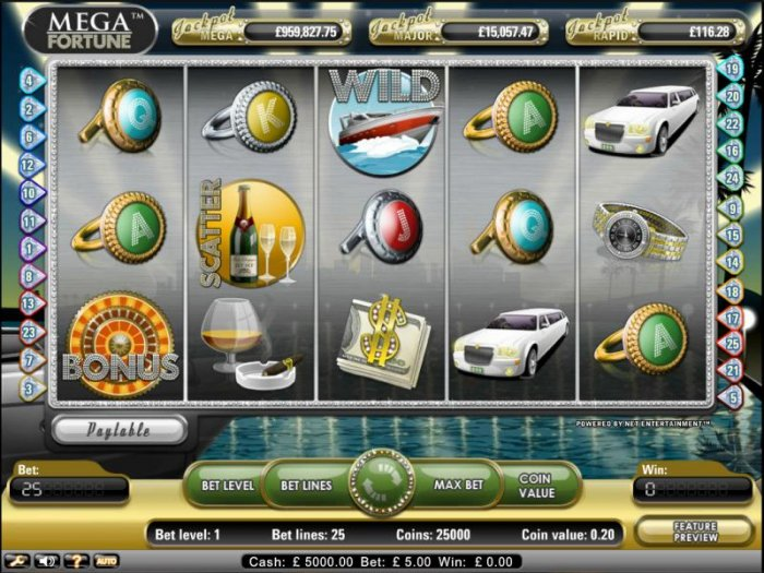 Mega Fortune Pokie Game main screen by All Online Pokies