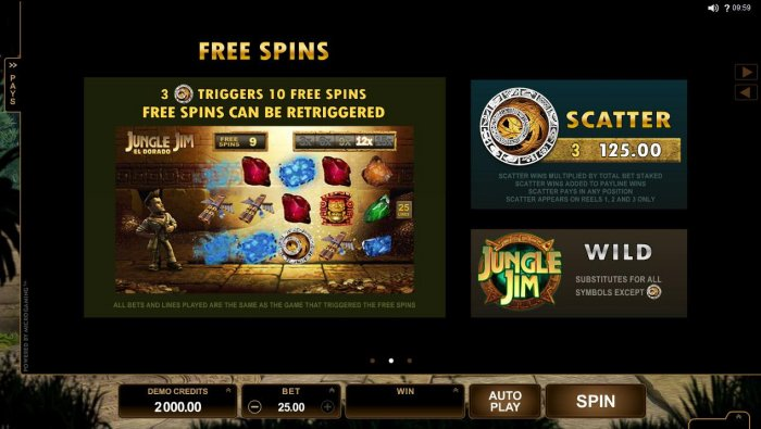 All Online Pokies - 3 Aztec calendar scatter symbols triggers 10 free spins! Free spins can be re-triggered.