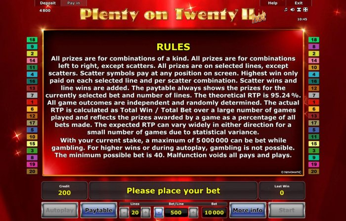 All Online Pokies image of Plenty of Twenty II Hot