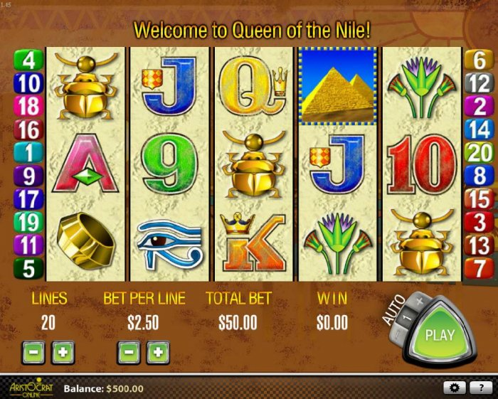 All Online Pokies - Main game board featuring five reels and 20 paylines with a $27,000 max payout