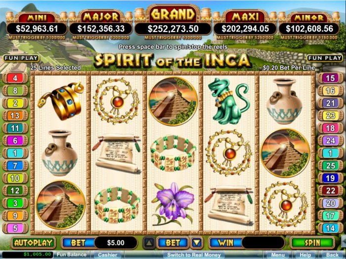All Online Pokies - Ancient civilization themed main game board featuring five reels and 25 paylines with a progressive jackpot max payout