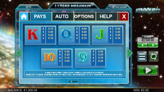 Low value pokie game symbols paytable. - All Online Pokies