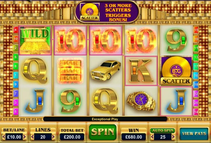 Multiple winning paylines triggers a 680.00 big win! by All Online Pokies